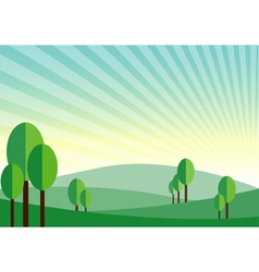 Green land mountain sunshine background vector