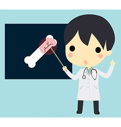 X-ray bone with cute doctor vector