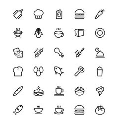 Food and drinks line icons 12 vector