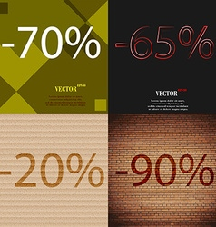 65 20 90 icon set of percent discount on abstract vector