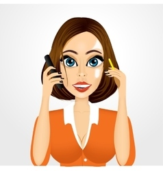 Realistic smiling secretary talking on the phone vector