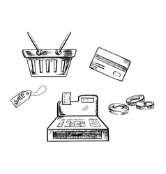 Sketches of shopping icons and symbols vector