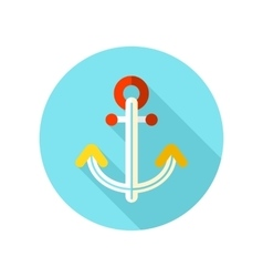 Anchor flat icon with long shadow vector