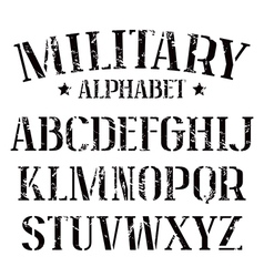 Stencil plate serif font military vector