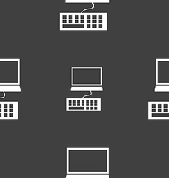 Computer monitor and keyboard icon seamless vector