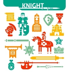 Set of monochrome icons knight vector