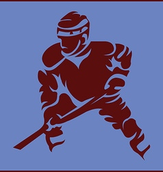 Hockey player in movement mascot silhouette vector