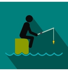 Fisherman sitting on pier with rod flat icon vector
