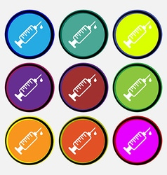 Syringe icon sign nine multi colored round buttons vector
