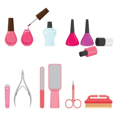 Manicure and pedicure equipments set vector