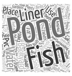 A backyard fish pond word cloud concept vector