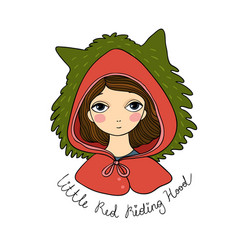 A cute little girl red riding hood fairy tale vector