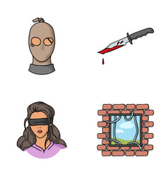 a thief in a mask a bloody knife a hostage an vector image