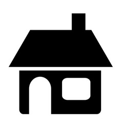 black silhouette of house with chimney in white vector image vector image