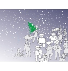 Cheerful People In Winter vector image vector image