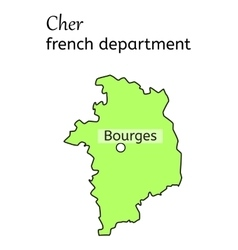 Cher french department map vector