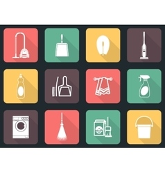 Cleaning flat icon set vector