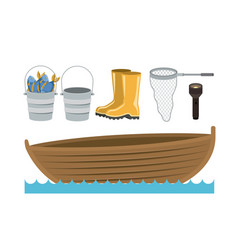 Colorful silhouette boat in water waves and set vector
