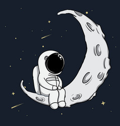 cute astronaut sits on crescent moon vector image vector image