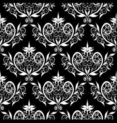 damask seamless pattern bfloral black vector image