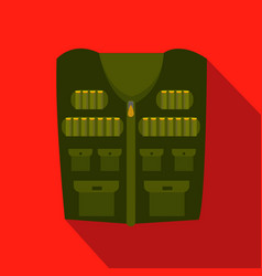 Flat design icon of hunter vest deep green vector