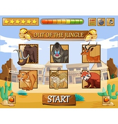 Game template with wild animals as characters vector image vector image