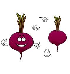 Happy cartoon beetroot vegetable character vector image vector image