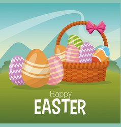 Happy easter card basket egg ornament landscape vector