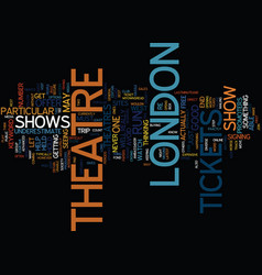 London theatre tickets text background word cloud vector