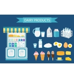 Milk products icon set flat style isolated on vector image vector image