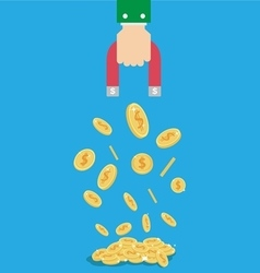 Money coin magnet in businessman hand vector