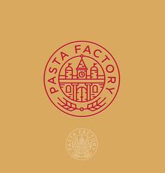 Pasta factory logo italian building spikelet vector