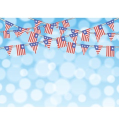 Patriotic bunting flags on bokeh background vector image