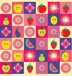 pattern with funny cartoon flowers and set of vector image vector image