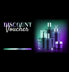 Premium cosmetic bottle discount vector