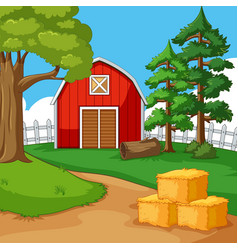 red barn in the farmyard vector image vector image