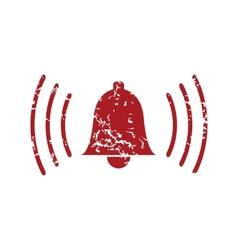 Red grunge alarm clock logo vector