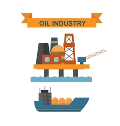 Sea oil rig offshore platform technology flat vector