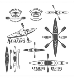 Set of vintage rafting labels vector