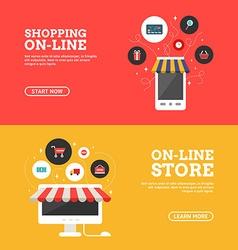 Shopping on-line online store set of flat design vector