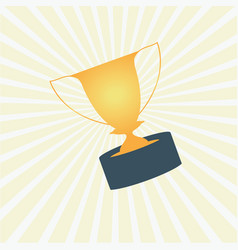 trophy award cup on yellow rays background vector image