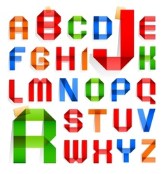 Font folded from colored paper - Roman alphabet vector image