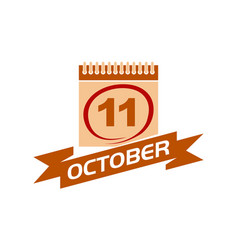 11 october calendar with ribbon vector image vector image