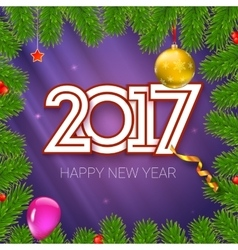 Christmas card with coming 2017 year Template for vector image