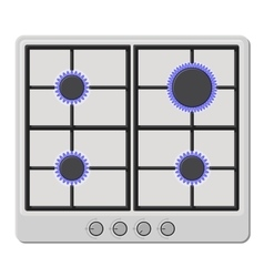 Surface of white gas hob stove with fire on vector
