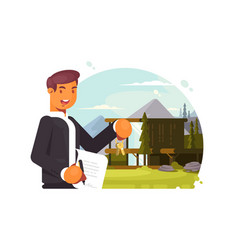 Successful realtor sells property vector