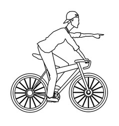 man riding bicycle transport outline vector image