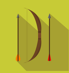 Archery retro set hunting season flat and vector