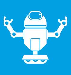 Robot on wheels icon white vector