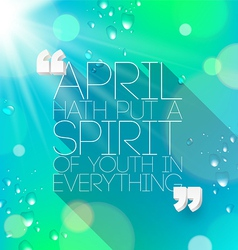 Quotes about spring by William Shakespeare vector image